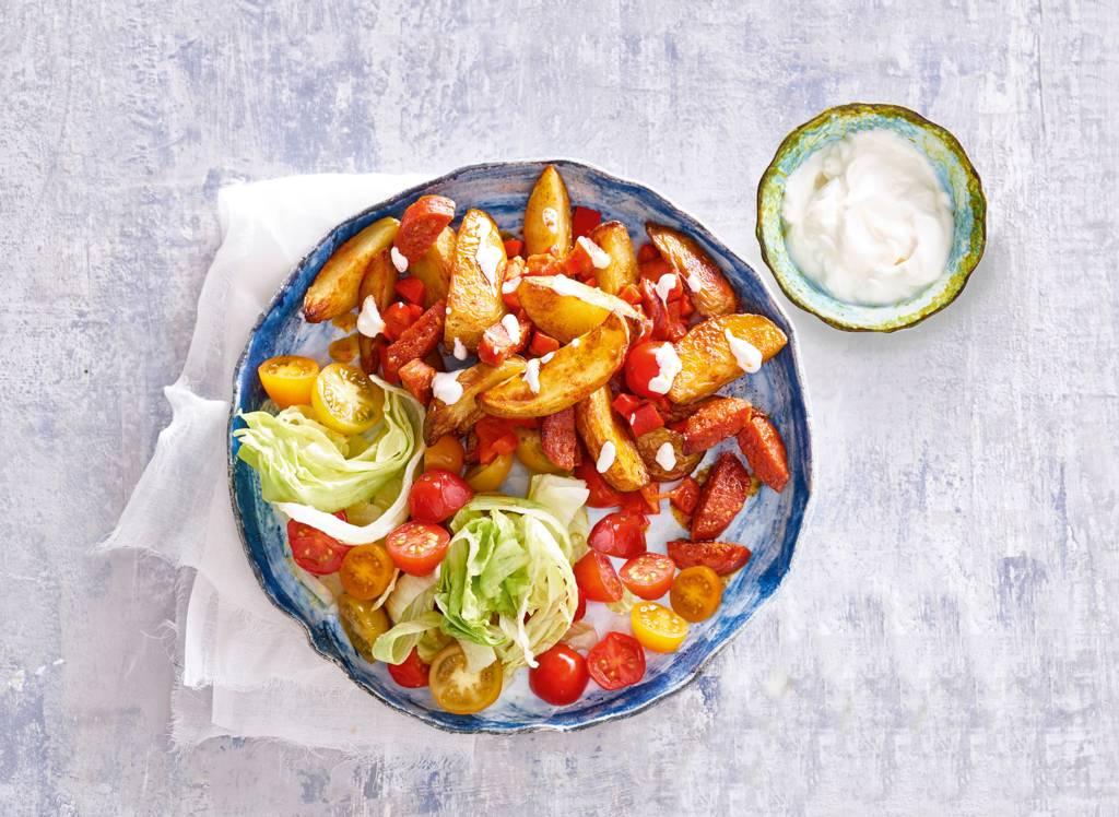 Geroosterde aardappelen met aïoli-yoghurtdressing