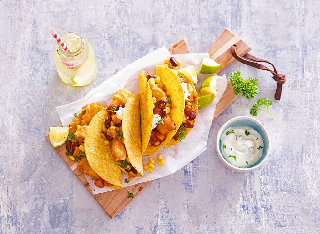 Mexicaanse taco's met vis en zoete aardappel
