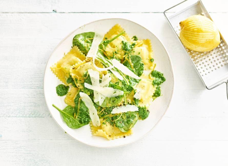 Glutenvrije ravioli met spinazie, room en citroen