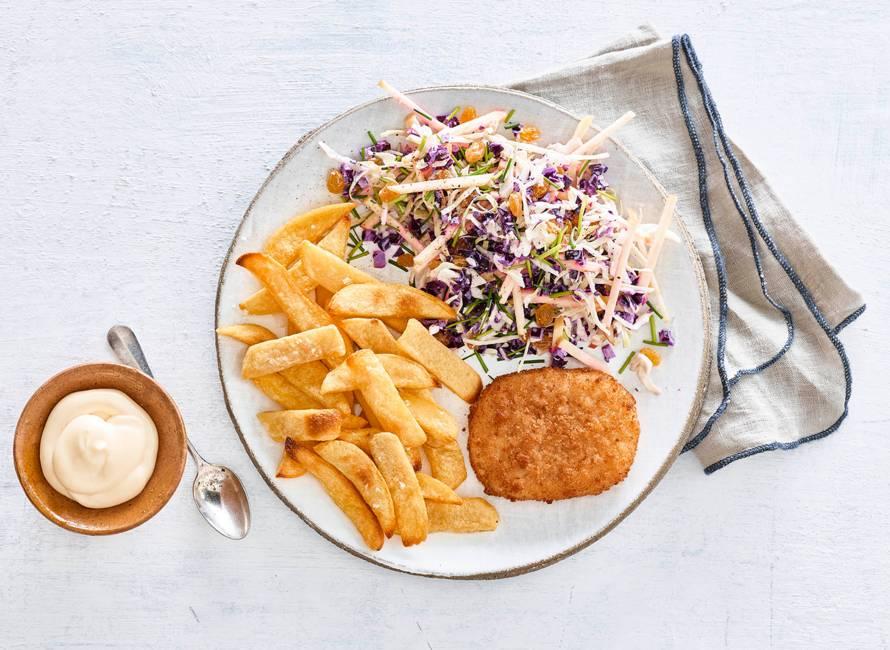 Kabeljauwburger, Vlaamse friet en coleslaw