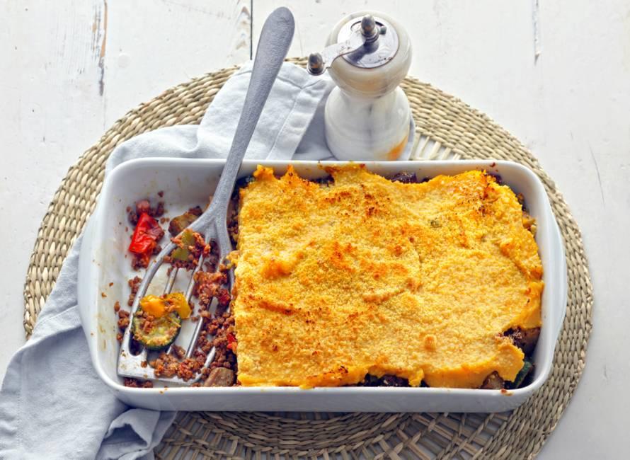 Ovenschotel met zoete-aardappelpuree