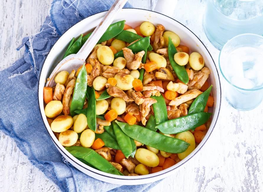 Scharrelkipreepjes met gemengde groenten