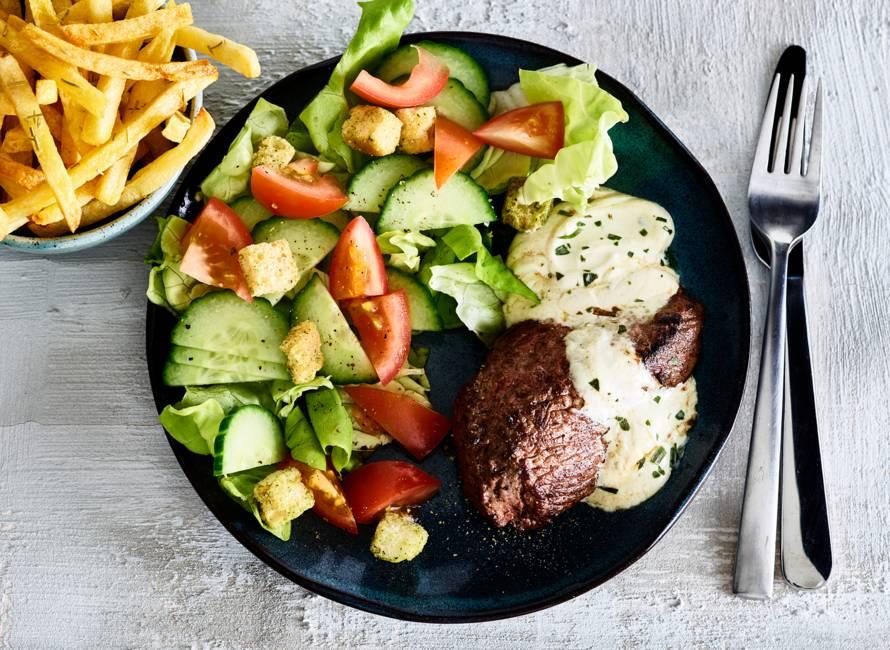 Biefstuk met bearnaisesaus en ovenfriet