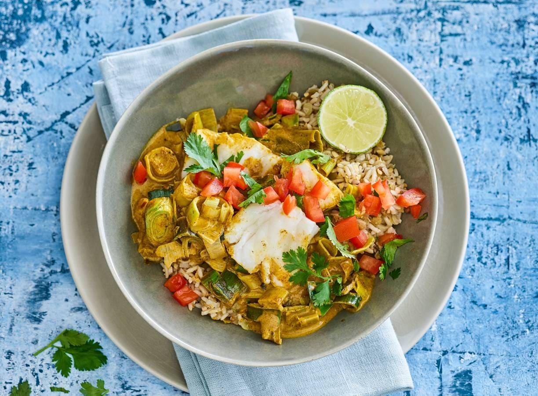 Curry madras met vis en linzenrijst