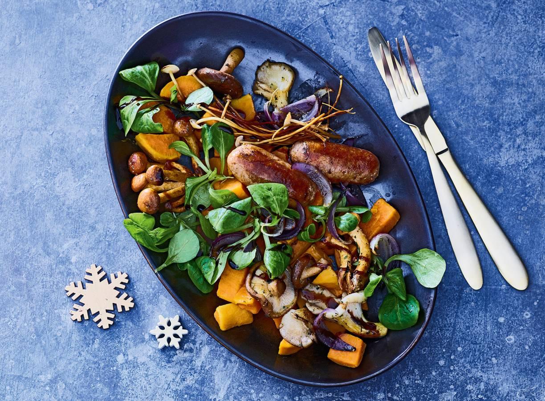 Lauwwarme zoete-aardappelsalade met Funghi Trifolati