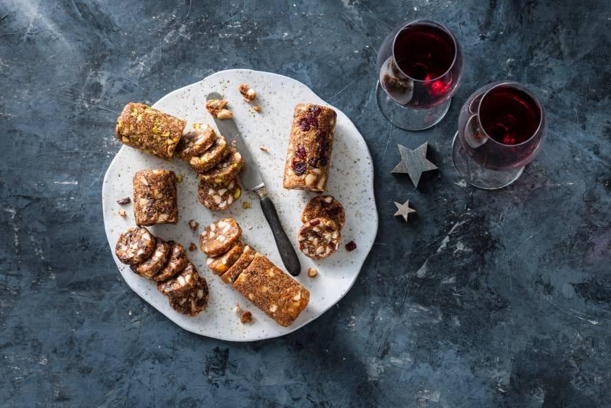 Duo vijgenrol met amandelen en abrikozen of chocola