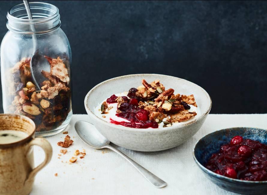 Knäckebrödgranola met cranberry's