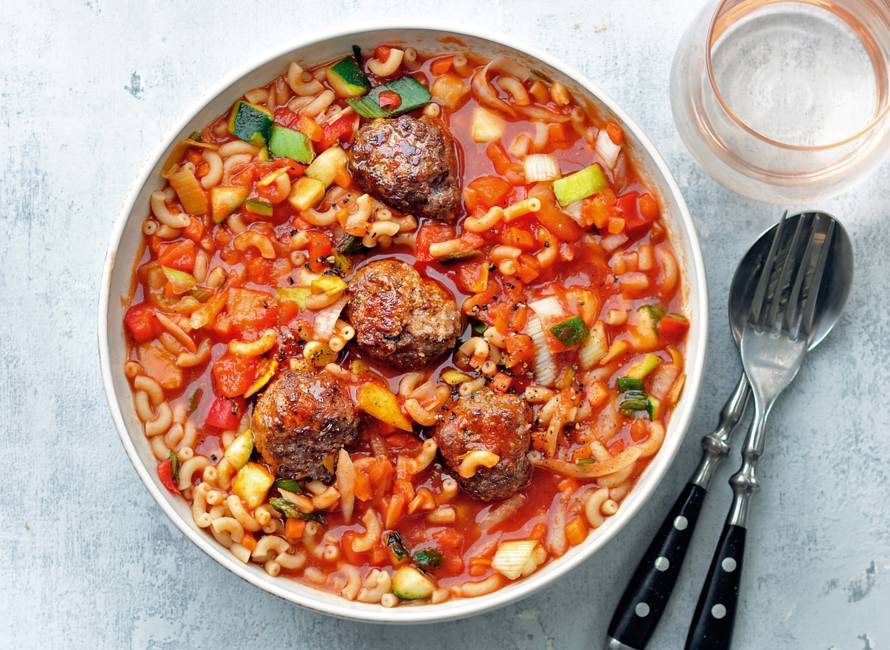 Eenpanspasta met gehakt en Italiaanse roerbakgroente