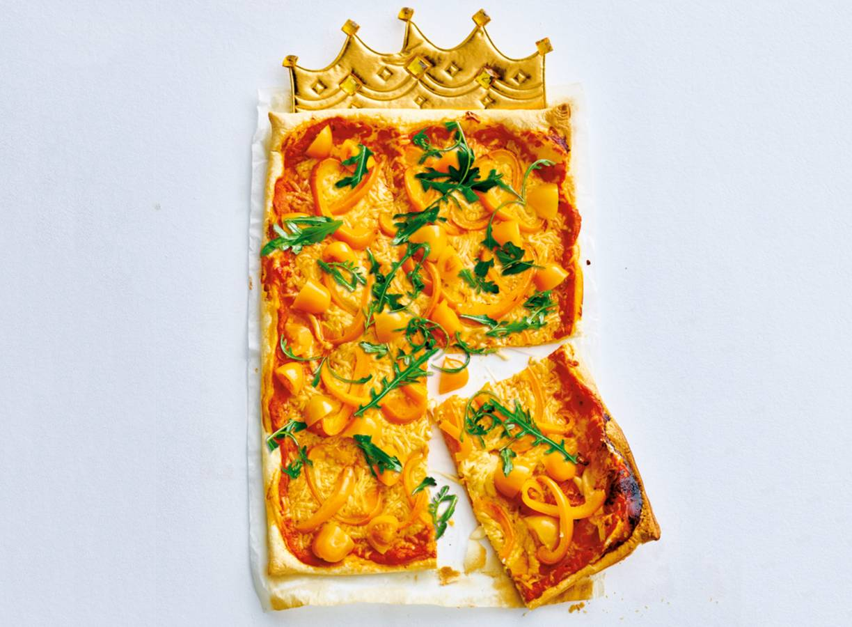 Oranje plaatpizza
