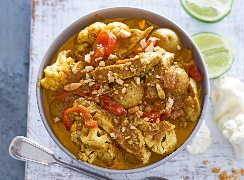 Indiase curry madras met scharrelkip en krieltjes