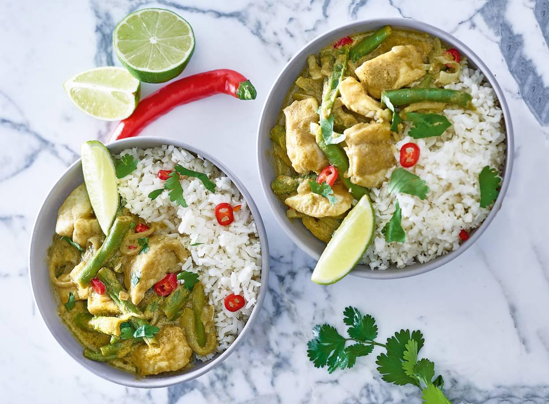 Thaise curry met bloemkoolrijst en visfilet