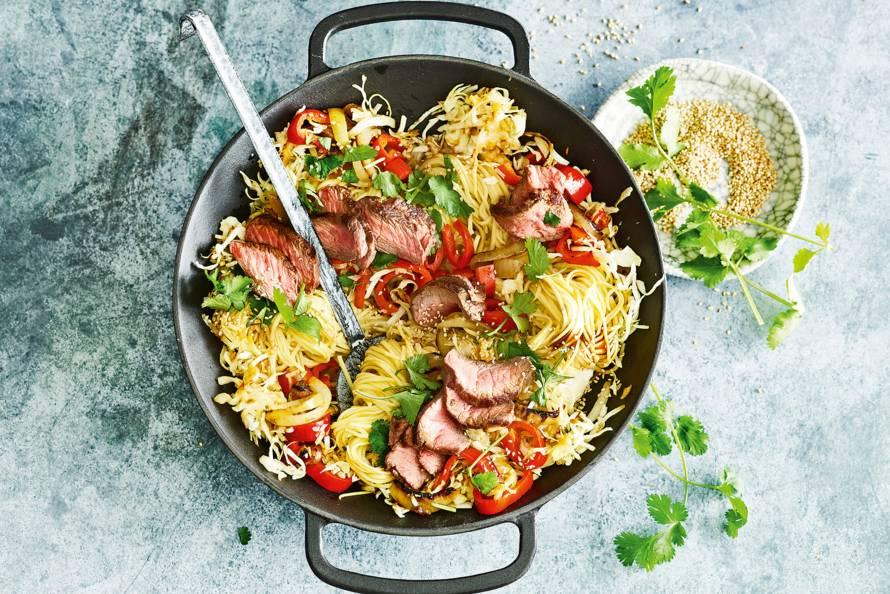 recept noodles met biefstuk