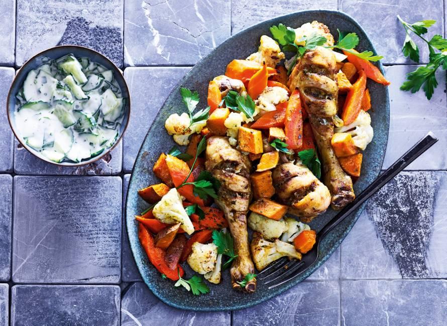 Kip & groenten van de bakplaat