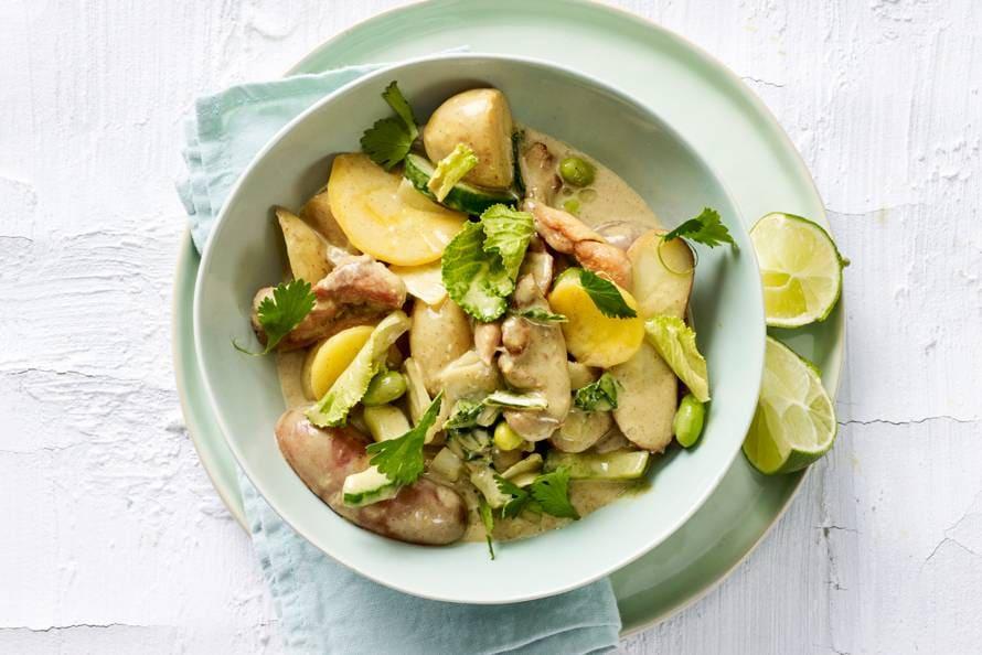 Aardappelcurry met wokgroente