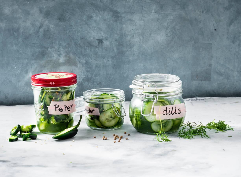 Snelle zoet-zoute komkommer