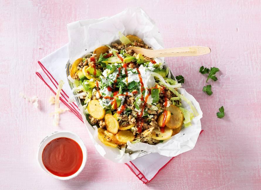 Kapsalon kip met airfryer-aardappelschijfjes