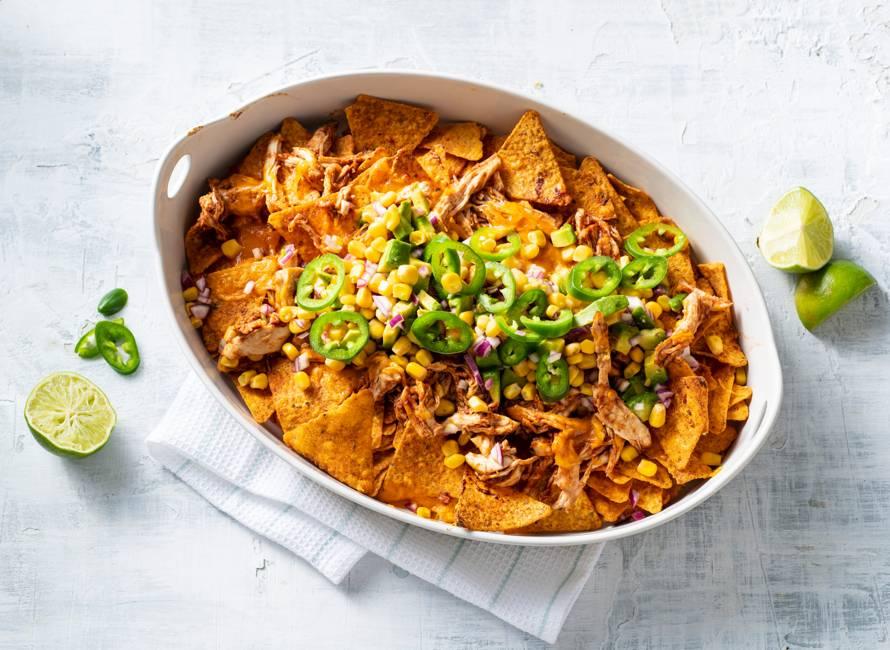Pulled chicken-nacho-borrelschotel