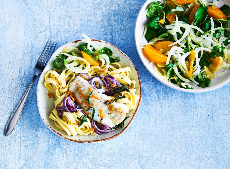 Kabeljauw met tagliatelle & venkel-waterkerssalade