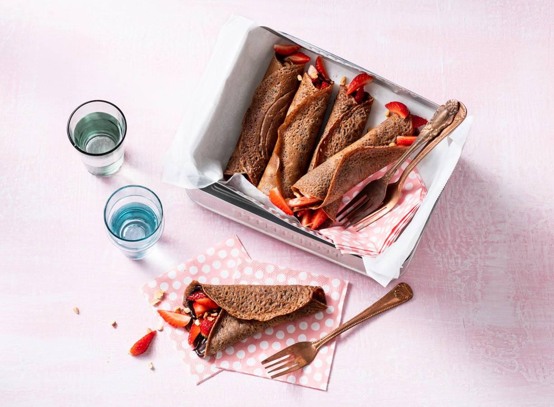 Chocoladepannenkoeken met aardbeien