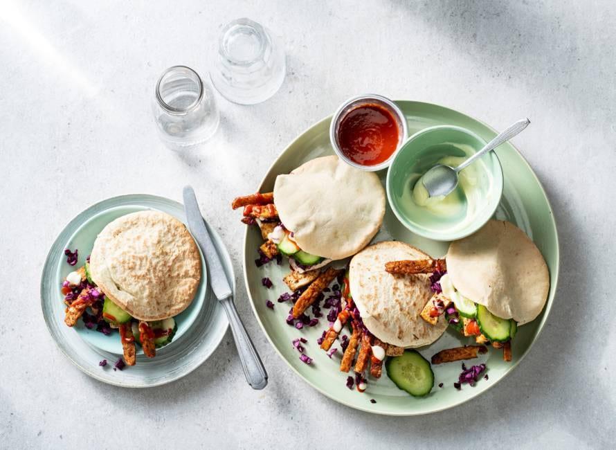 Vegan kebab van tofu en tempeh