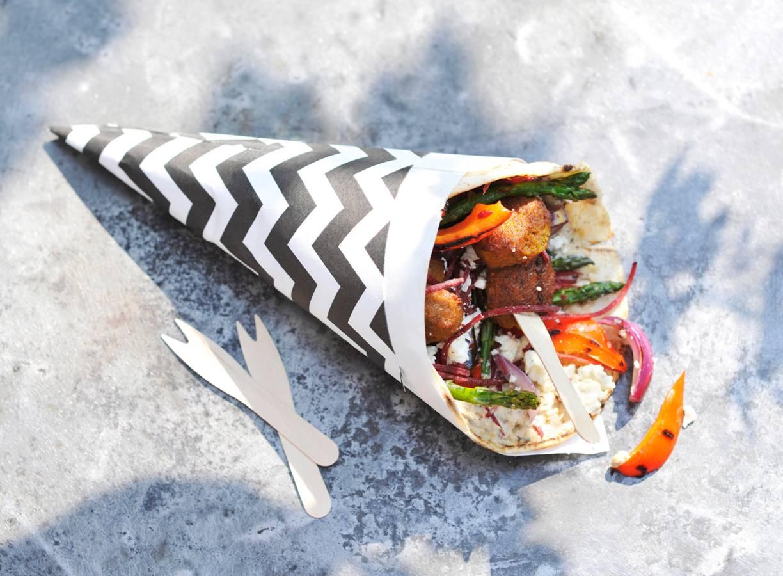Libanese wraps met falafel, witte kaas en gegrilde groenten