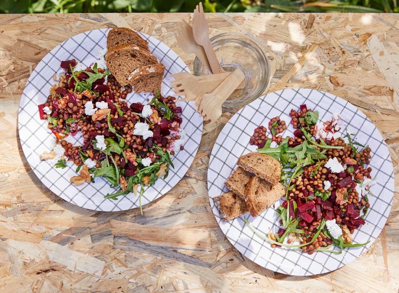 Linzensalade met biet en geitenkaas