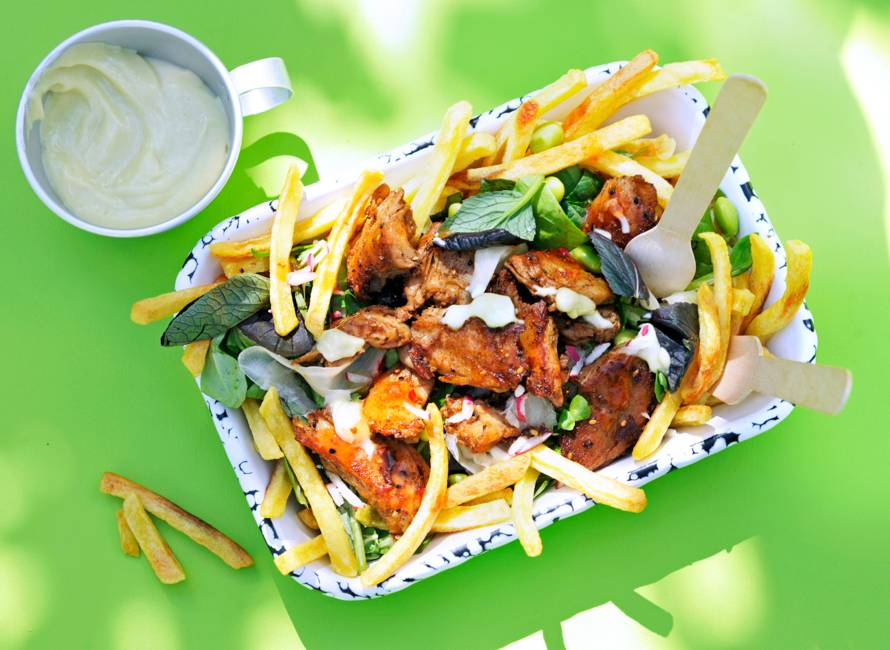 Vegan loaded fries Japanse stijl