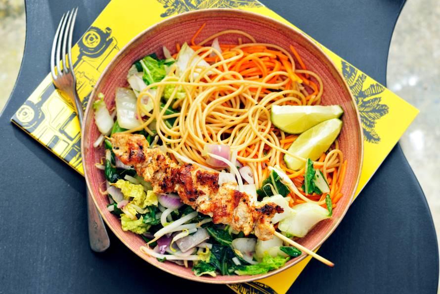 Volkorenpasta met zoete-aardappelspaghetti