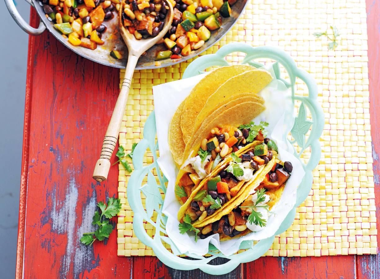 Taco's met groentechili sin carne & zoete aardappel