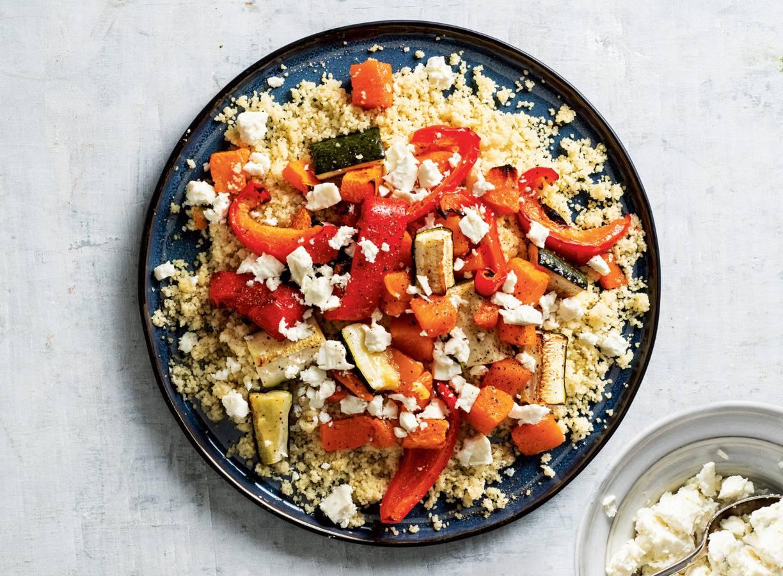Couscous met feta en geroosterde groenten