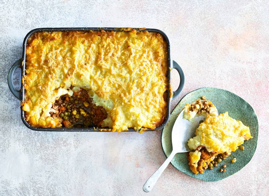 Cottage pie met doperwten-linzen-maismix