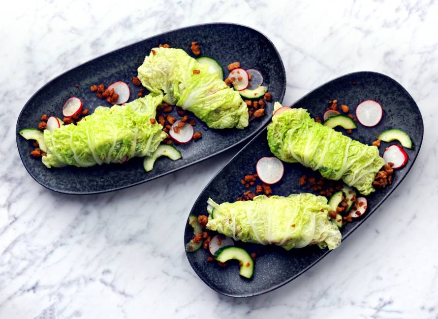 Koolwraps met vegagehakt, komkommer en radijs
