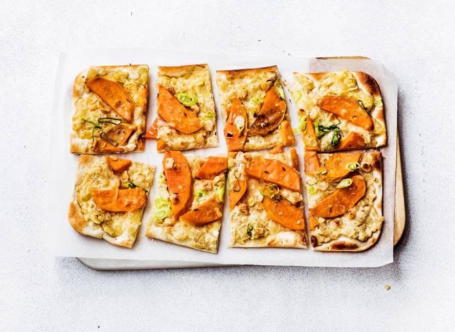 Flammkuchen met zoete aardappel