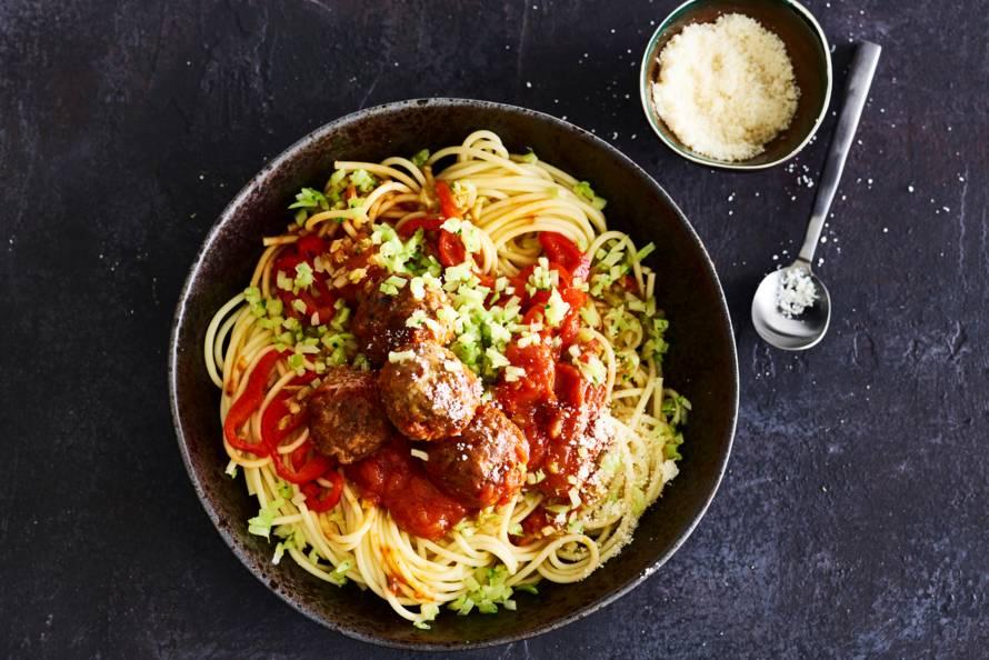 Spaghetti met homemade Italiaanse gehaktballetjes