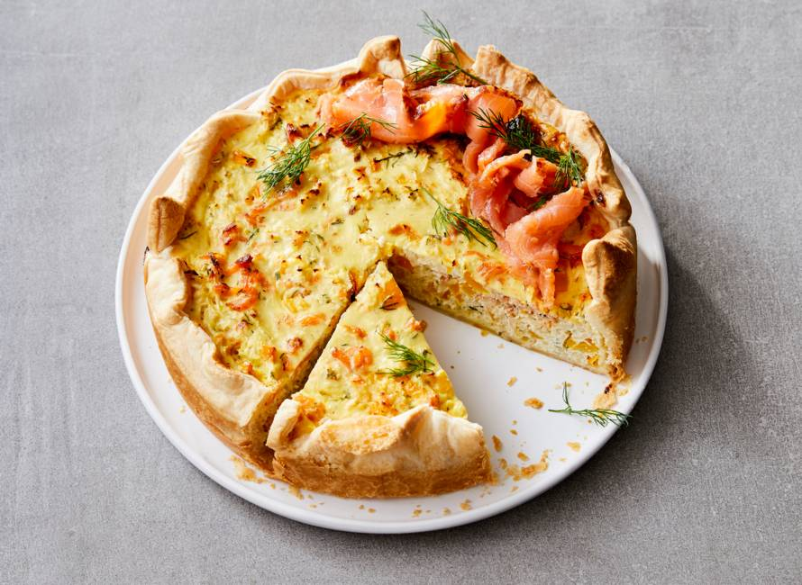 Frisse quiche met flame roasted zalm
