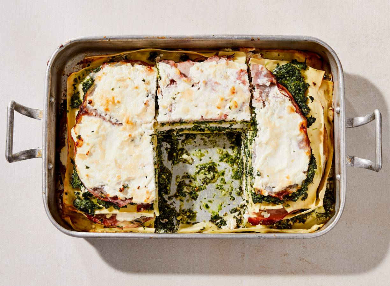 Lasagne met ham, ricotta & spinazie