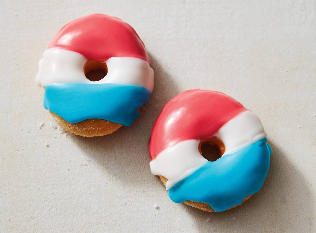 Rood-wit-blauwe donuts