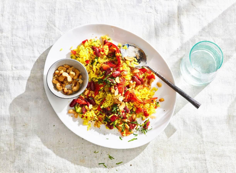 Mexicaanse rijstsalade met saladeverrijker