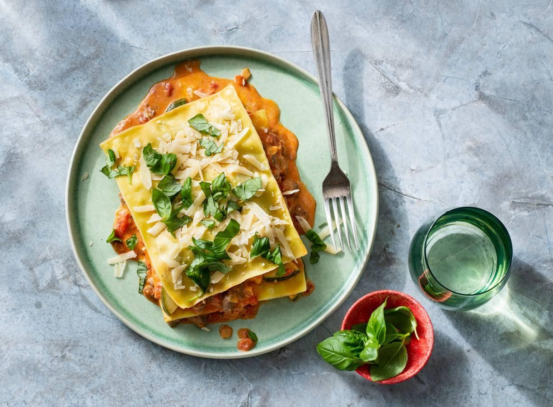 Open lasagne met ragout & courgette