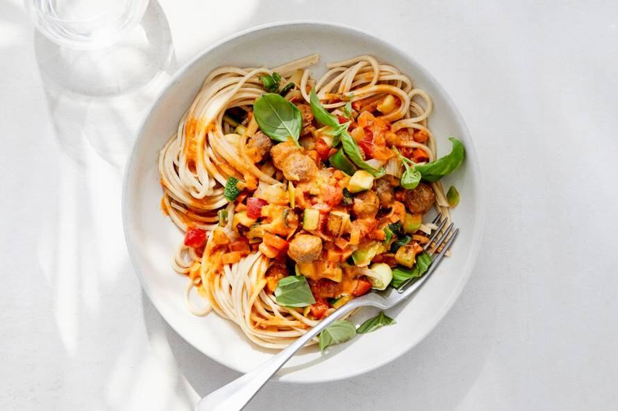 Volkoren pasta met gehaktballetjes