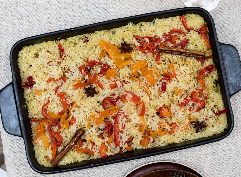 Ovengebakken rijst met gegrilde paprika