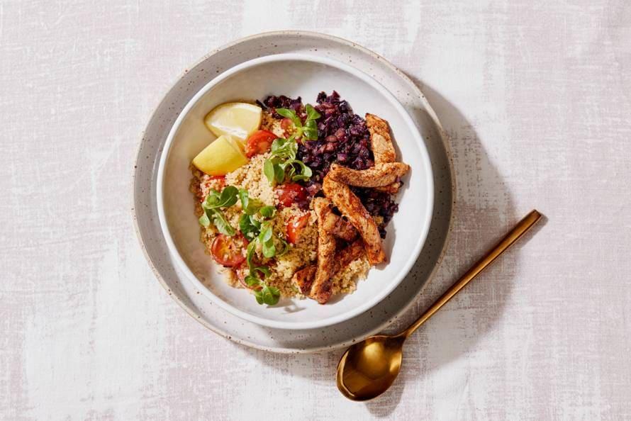 Couscous met gebakken rodekool