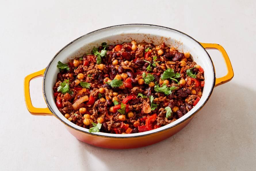 Chili con carne met kikkererwten
