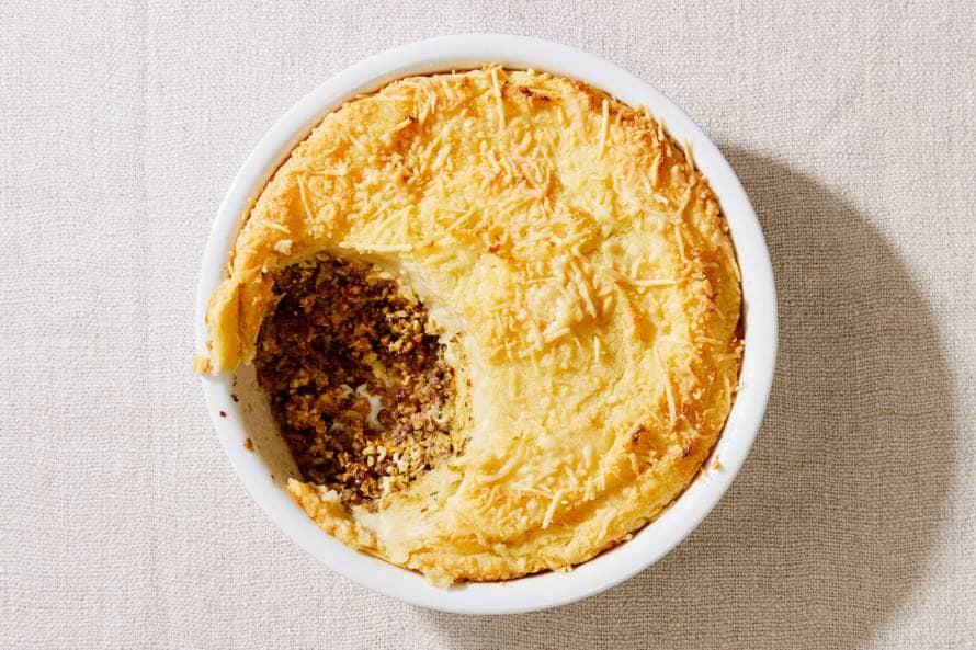 Ovenschotel met aardappelpuree, gehakt & bloemkoolrijst
