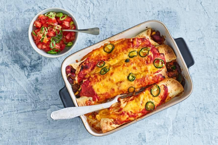 Mexicaanse enchilada's met gehakt & tomatensalsa