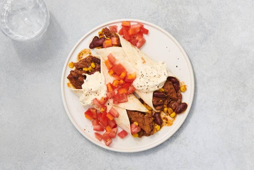 Burritos met vegetarische Kipstuckjes