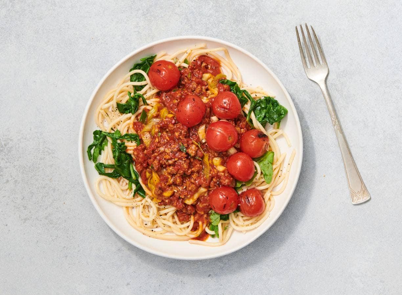 Spaghetti bolognese met vegetarisch rulstukjes