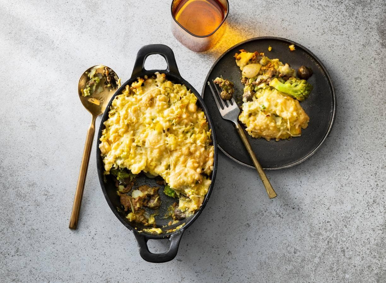 Gehaktschotel met aardappel, kerrie & bloemkool