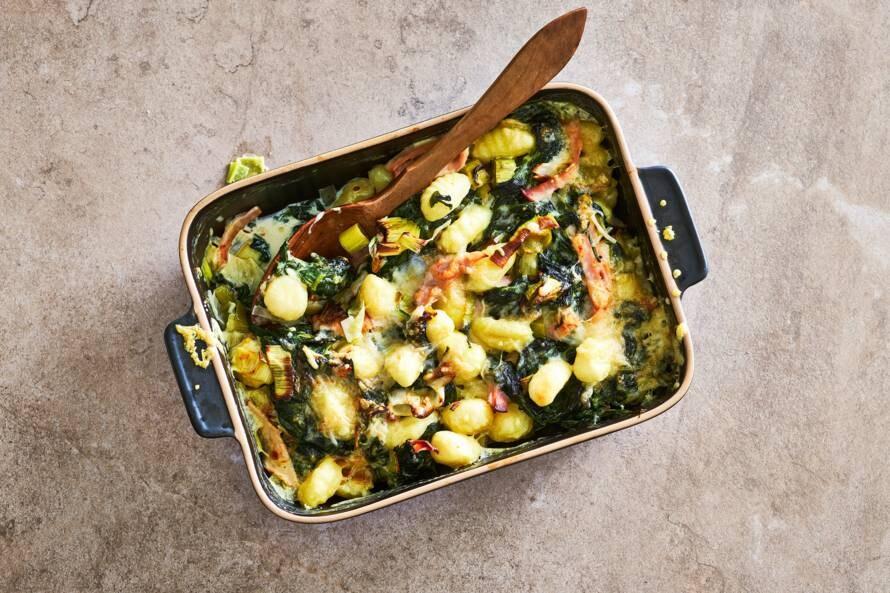 Gnocchi-ovenschotel met romige spinazie-kaassaus & kalkoen