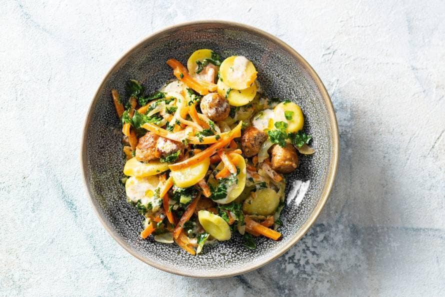 Hollandse aardappelstoof met boerenkool & braadworst